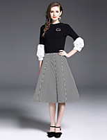 YIYEXINXIANG Women's Casual/Daily Work Simple Fall T-shirt Skirt Suits,Striped Round Neck ¾ Sleeve Stretchy