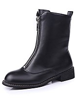 Women's Shoes PU Fall Combat Boots Boots Chunky Heel Round Toe Zipper For Casual Black