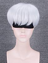 Damen Synthetische Perücken Kappenlos Kurz Wellig Cremig-weiß Natürlicher Haaransatz Mit Pony Party-Perücke Halloween Perücke Cosplay