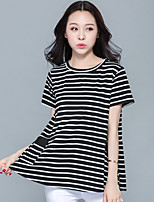 Women's Going out Casual T-shirt,Striped Round Neck Short Sleeves Cotton