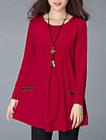 T-shirt Da donna Casual Vintage Primavera Autunno,Tinta unita Rotonda Cotone Poliestere Manica lunga Medio spessore