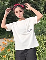 Women's Daily Casual T-shirt,Geometric Round Neck Short Sleeves Cotton