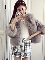 Women's Going out Simple Fall Winter Fur Coat,Solid Stand ¾ Sleeve Short Polyester Fur Trim