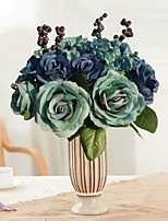8 Branches Silk Roses Tabletop Flower Decorate Artificial Flowers