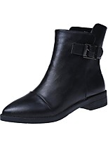 Women's Shoes PU Fall Fashion Boots Boots Chunky Heel Round Toe Zipper For Casual Black