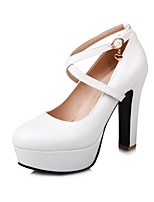 Women's Shoes Leatherette Spring Fall Comfort Heels Chunky Heel Round Toe Buckle For Office & Career Dress Blushing Pink Blue White