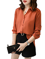 Women's Daily Sexy Spring Fall Shirt,Solid Shirt Collar Long Sleeves Polyester Medium