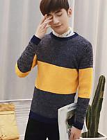 Standard Pullover Da uomo-Casual Semplice A strisce Rotonda Manica lunga Poliestere Autunno Medio spessore Media elasticità