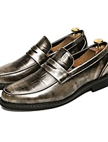 Men's Shoes Leather Spring Fall Formal Shoes Loafers & Slip-Ons For Casual Burgundy Silver Black