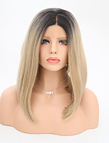 Women Synthetic Wig Lace Front Medium Length Straight Black/Gold Middle Part Bob Haircut Natural Wigs Costume Wig