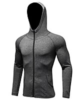 Men's Running Jacket Long Sleeves Anatomic Design Stretchy Breathability Hoodie Sweatshirt for Running/Jogging Camping / Hiking Cycling