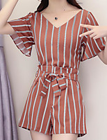 Women's Casual/Daily Simple Summer Blouse Pant Suits,Striped V Neck Short Sleeve Micro-elastic