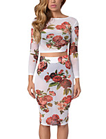 Women's Going out Club Vintage Boho Spring Fall T-shirt Skirt Suits,Floral Sexy Lady Round Neck Long Sleeve Polyester Micro-elastic