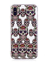 baratos -Capinha Para Apple iPhone X iPhone 8 Plus Brilha no Escuro IMD Estampada Capa traseira Caveiras Macia TPU para iPhone X iPhone 8 Plus