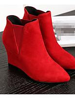 Mujer Zapatos Cuero real Cuero Nobuck Otoño Invierno Botas de Moda Botas Media plataforma Botines/Hasta el Tobillo Para Casual Negro Rojo
