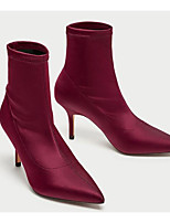 Women's Shoes Synthetic Microfiber PU Spring Fall Fashion Boots Boots Low Heel Pointed Toe Booties/Ankle Boots For Casual Red
