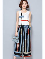 Women's Going out Street chic Summer Tank Top Pant Suits,Solid Striped Round Neck Sleeveless Backless Inelastic