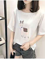 Feminino Camiseta Para Noite Simples Sólido Estampado Algodão Decote Redondo Manga Curta
