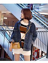 Feminino Jaqueta jeans Para Noite Simples Outono,Sólido Padrão Algodão Colarinho Chinês Manga Longa