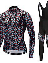 Cycling Jersey with Bib Tights Unisex Long Sleeves Bike Clothing Suits Windproof Rainbow Animal Fashion Winter Cycling/Bike White Black