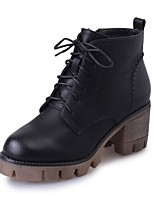 Women's Shoes PU Fall Combat Boots Boots Chunky Heel Round Toe Lace-up For Casual Gray Black