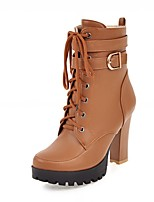 Women's Shoes Leatherette Spring Winter Fashion Boots Boots Chunky Heel Round Toe Booties/Ankle Boots Lace-up For Casual Office & Career