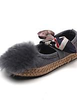 Fille Chaussures Daim Printemps Automne Confort Chaussures de Demoiselle d'Honneur Fille Ballerines Noeud Scotch Magique Pour Décontracté