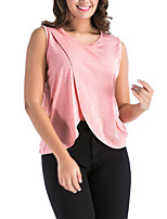 Women's Daily Going out Casual Sexy Summer Fall Tank Top,Solid V Neck Sleeveless Polyester Medium