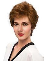 Women Human Hair Capless Wigs Medium Auburn Black Short Natural Wave Side Part