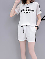 Women's Casual/Daily Simple Summer T-shirt Pant Suits,Letter Round Neck Short Sleeve Micro-elastic