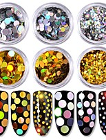 6 color Round Shape The Size of The Laser Colorful Gold And Silver Sequins 1g/box