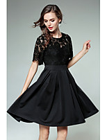 SHE IN SUN Women's Party Casual/Daily Simple Street chic Lace Skater DressSolid Patchwork Round Neck Above Knee Short Sleeves Polyester Fall Winter