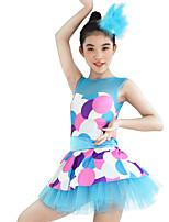 Tenues de Danse pour Enfants Robes Femme Enfant Spectacle Élastique Elasthanne Lycra Sans manche Taille moyenne Robes Coiffures