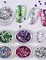 6 couleurs 3d triangle forme solide laser paillettes colorées 1g / boîte