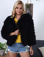 Women's Daily Going out Work Simple Vintage Casual Active Winter Fall Fur Coat,Solid V Neck Long Sleeve Regular Faux Fur Polyester