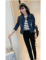 Women's Going out Simple Fall Denim Jacket,Solid Stand ¾ Sleeve Short Cotton