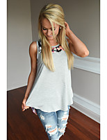 Women's Going out Street chic Summer Tank Top,Floral Round Neck Sleeveless Others Opaque