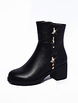 Women's Shoes Leatherette Fall Winter Comfort Bootie Boots Chunky Heel Pointed Toe Booties/Ankle Boots Zipper For Casual Dress Black