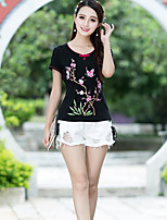 Women's Daily Casual T-shirt,Print Round Neck Short Sleeves Cotton