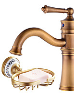 Centerset Swivel with  Ceramic Valve Single Handle One Hole for  Antique Copper , Bathroom Sink Faucet