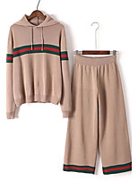 Women's Going out Casual/Daily Simple Cute Active Spring Fall T-shirt Pant Suits,Solid Hooded Long Sleeve Micro-elastic