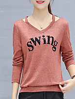Women's Daily Sexy Spring Fall T-shirt,Solid V Neck Long Sleeves Polyester Medium