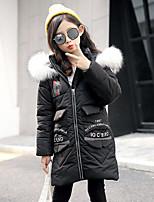 Girls' Print Down & Cotton Padded,Rabbit Fur Faux Fur Cotton Fall Winter Long Sleeve
