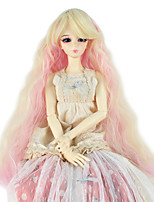 Women Synthetic Wig Capless Long Kinky Curly Gold Pink Doll Wig Costume Wig