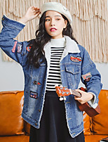 Women's Going out Simple Casual Winter Fall Denim Jacket,Solid Peaked Lapel Long Sleeve Regular Cotton Polyester