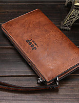 Men Bags PU Wallet Zipper for Casual All Seasons Black Coffee Dark Brown