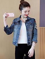 Women's Daily Simple Casual Fall Denim Jacket,Print Shirt Collar Long Sleeve Regular Cotton