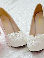 Femme Chaussures Dentelle Polyuréthane Printemps Automne Confort Chaussures de mariage Bout rond Strass Applique Billes Imitation Perle