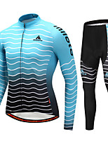 Miloto Cycling Jersey with Tights Men's Long Sleeves Bike Clothing Suits Stretchy Autumn/Fall Winter Cycling/Bike Black/Blue