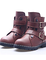 Girls' Shoes Cowhide Fall Winter Snow Boots Boots For Casual Red Brown White